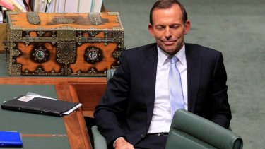 Opposition Leader Tony Abbott listens to Independent MP tony Windsor.
