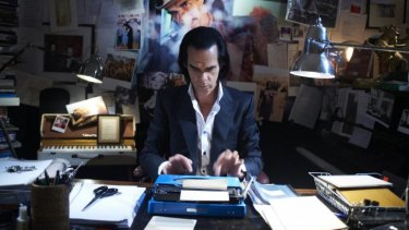 Nick Cave at his typewriter.