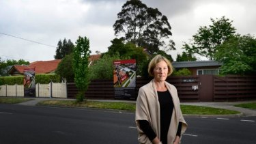 Concerns: Danita Tucker in Jasper Road, McKinnon, where residents are dismayed by developers' plans to build three-storey apartment blocks.
