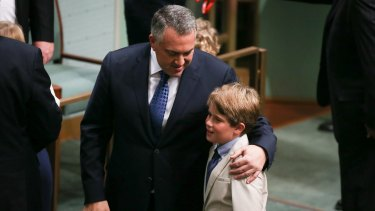 Treasurer Joe Hockey and his son Xavier Hockey in the House of Representatives on Tuesday.