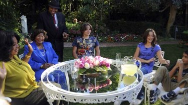 Opening up ... Oprah Winfrey, left, interviews Katherine Jackson, second left, mother of  Michael Jackson, and his three children, from left, Prince, Paris and Blanket.