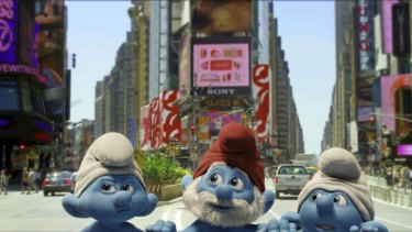 The Smurfs take Manhattan: A dislocated group of Smurfs check out their new environment in the fabulous 3D kids' film <i>The Smurfs</i>.