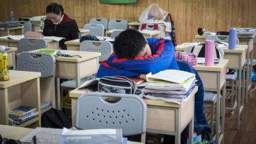 A student sleeps between classes at the prestigious Shanghai High School.