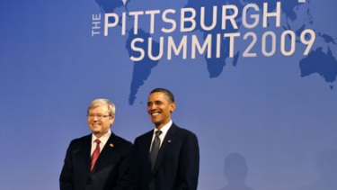 Kevin Rudd (above) and Barack Obama pose together after addressing news conferences after the G20 summit in Pittsburgh on Friday.