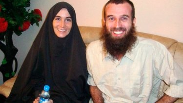 Amanda Lindhout and Nigel Brennan smile for the cameras in November 2009 following their rescue after more than a year in captivity.