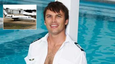 Pilot Dominic James, as he appeared in Cleo, and a Westwind jet.