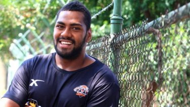 Rugby-bound: At 120kg, Wests Tigers' Fijian winger Taqele Naiyaravoro is bound to make an impact in rugby.