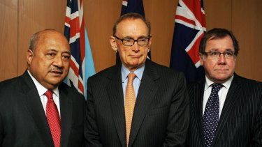 Fiji's Foreign Minister Ratu Inoke Kubuabola (left), Australia's Foreign Minister Bob Carr (centre) and their New Zealand counterpart Murray McCully.