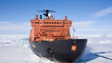 The world's largest nuclear-powered icebreaker, Russia's 50 years of Victory, on the way to the North Pole in 2008.