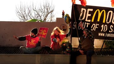 Cold comfort: protesters camp on the old Hazel Vale Dairy for the second night in a row.