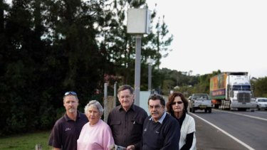 Clunes residents express their concerns about the decommissioning of the towns fixed speed camera. Pictured, left to right, are Rod Gibson., Marie Johnston, John Drysdale, Garry Johnston, Trish Johnston.