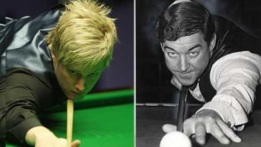 Now and then ... new world champion Neil Robertson and Pot Black's Aussie hero Eddie Charlton, and, below, a night at Sydney's Club Marconi in Bossley Park,  with Shawn Budd at the table.