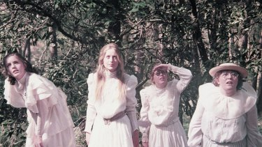 Karen Robson (Irma), Anne Lambert (Miranda), Jane Vallis (Marion) and Christine Schuler (Edith) in Peter Weir's 1975 film.