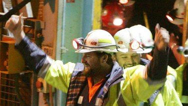 Real life ... miners Todd Russell, left, and Brant Webb emerge from the mine.