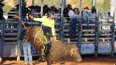 Tammara Wrenn in action at the Mt Isa Rodeo.