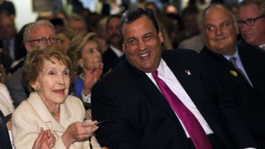 New Jersey Republican Governor Chris Christie and former first lady Nancy Reagan.