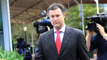 John-Paul Langbroek fronts the media at Redland Bay yesterday.
