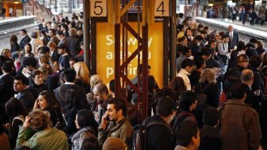 Peak hour at Flinders Street station.