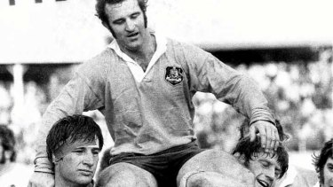 John Hipwell is chaired from the SCG following the Wallabies Test match against England in 1975.