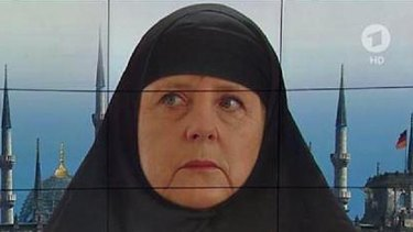 German Chancellor Angela Merkel portrayed as a Muslim by the ARD television channel.