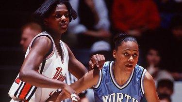 Marion Jones playing basketball for North Carolina in 1994.