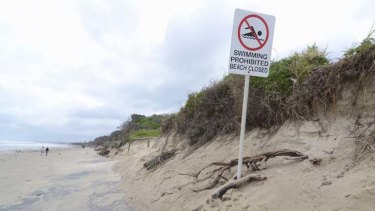 Precarious … the loss of large chunks of the beach means lifesavers have to find some unusual places to put their signs.