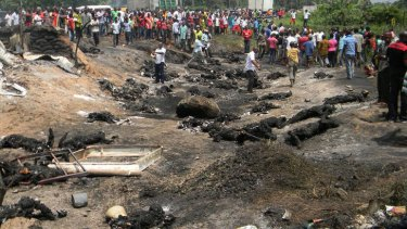 Burned to death ... scores died after an oil tanker blew up.