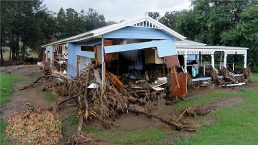A Grantham home severely damaged in the 2011 flood.
