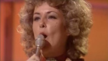 ABBA's Anni-Frid Lyngstad belts out <i>Waterloo</i>, representing Sweden in Eurovision in 1974.