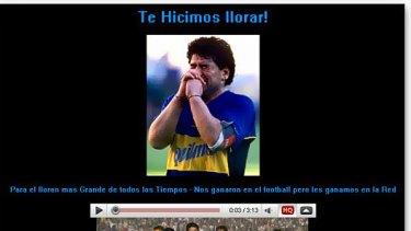 Diego Maradona's website has been hacked.