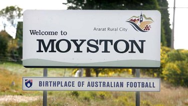 Claim to football fame: Welcome sign at Moyston.