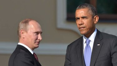 Russian President Vladimir Putin and US President Barack Obama shake hands. Mr Putin appears to have the upper hand in diplomacy over Syria.