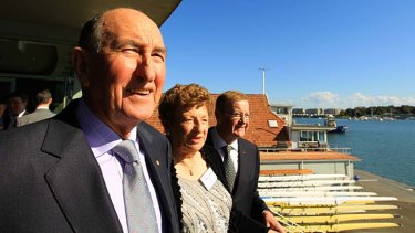 Herb Elliott, left, Marjorie Jackson-Nelson and the head of the Australian Olympic Committee  John Coates at the Sydney Rowing Club today during the 59th reunion of the 1952 Helsinki Olympics Australian team.