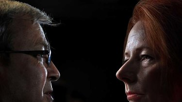 """Circling"" ... supporters of Julia Gillard are nervous about another possible leadership bid by Kevin Rudd."