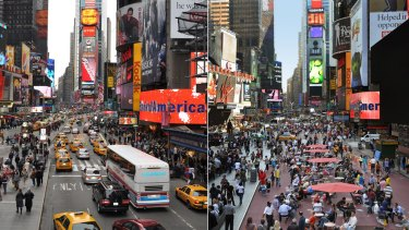 Before and after: New York's Times Square. Photo supplied.