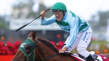 Happier times: Cedarberg wins the BMW at Rosehill.