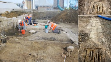 Workers at the excavation site yesterday - mid-19th century drain, right, was among the treasures found.