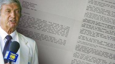 Richie Benaud sent a letter to Jonathan Stevenson in 1996.
