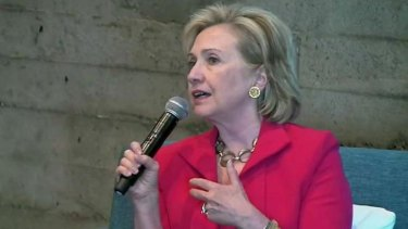 Former US Secretary of State Hillary Clinton, seen here during a visit to Twitter headquarters, has big aspirations for social media in diplomacy.