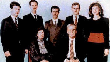 A family picture dated 1985 shows Syria's late president Hafez al-Assad and his wife Anisa Makhluf (seated) and, behind them from right to left, their five children: Bushra, Majd,  Bassel, Syrian President Bashar, and Maher.