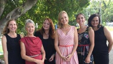 Green team: From left Kristen Lyons (Moreton candidate), Sandra Bayley (Ryan), Karen Anderson (Griffith), Senator Larissa Waters, Kirsten Lovejoy (Brisbane), Janine Kelly (Groom).