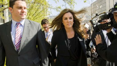 Tony Abbott's chief of staff, Peta Credlin arrives at the ACT Magistrates Court.