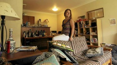Not all her own: University student Galina Globug in her eastern suburbs flat, which is mostly furnished in goods she has received through the Freecycle initiative.