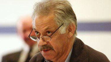 Alf Bamblett, pictured speaking on Aboriginal  child care, has died, aged 71.