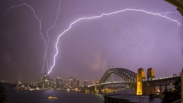 Lightning strikes the Sydney Tower.