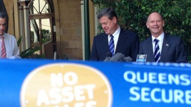 Premier Campbell Newman and Treasurer Tim Nicholls announce the asset lease plan.