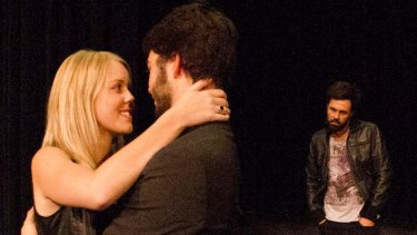 Laura Dawson as Lucie Manette, Daniel Greiss as Charles Darnay and Calen Robinson as Sydney Carton in <i>A Tale of Two Cities</i>.