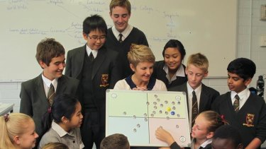 Sue Dineen operates The Four Rooms of Change program with her class at Werribee's MacKillop Catholic Regional College.