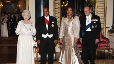 The Queen and Prince Philip host Jacob Zuma and his latest wife, Thobeka Madiba, at a state banquet in Buckingham Palace.