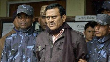 Amit Kumar after  his arrest in Kathmandu.